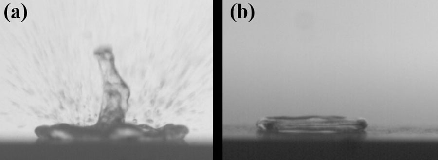 Snapshots of hot surface and cold droplet interaction at 3 milliseconds at 300 degrees Celsius: (a) on as-received alumina ceramics and (b) on an engineered hydrophobic surface Credit: Divya J. Prakash and Youho Lee