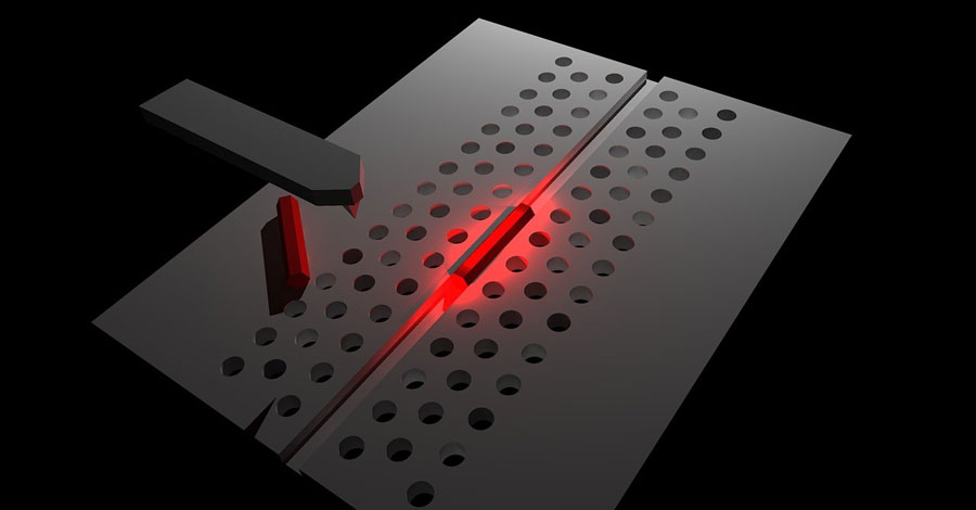 schematic of a nanowire photonic-crystal hybrid laser fabricated by  nanoprobe manipulation  credit: