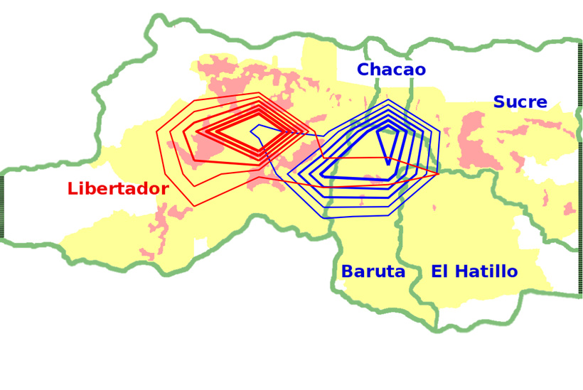 Geographical polarization in the city of Caracas