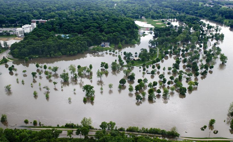 June 2013 Flooding of the Iowa River in Iowa City, Iowa. <br/>CREDIT: Aneta Goska/Iowa Flood Center
