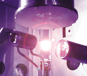 Plasma generated by blasting droplets with a laser 6000 times a second.
