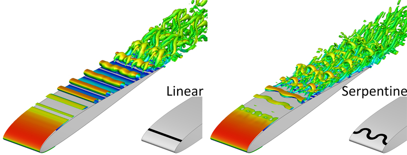 Comparison of turbulent flow structures over an airfoil when a pulsed linear (left) and a serpentine (right) plasma actuator are used to control the flow.