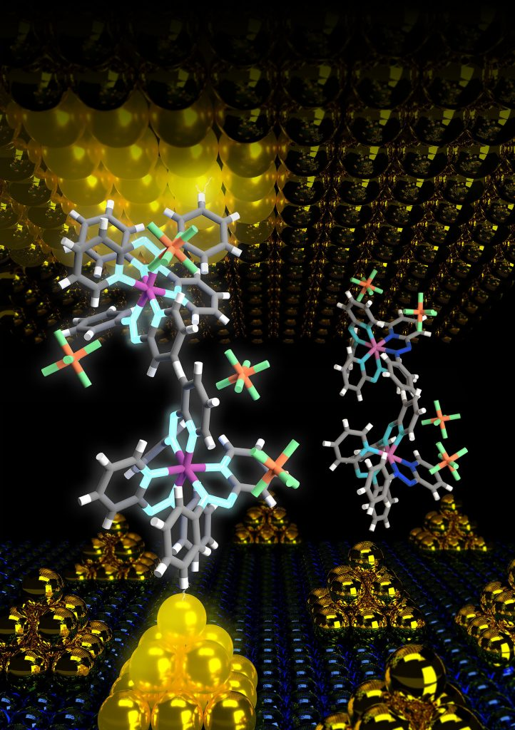 The device structure at a molecular level. The gold nanoparticles on the bottom electrode enhance the field enabling an ultra-low energy operation of the molecular device. CREDIT: Sreetosh Goswami, Sreebrata Goswami and Thirumalai Venky Venkatesan