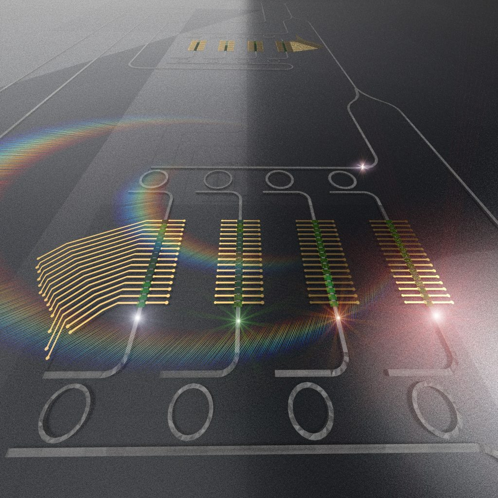 The photonic tensor core performs vector-matrix multiplications by utilizing the efficient interaction of light at different wavelengths with multistate photonic phase change memories. CREDIT: Mario Miscuglio