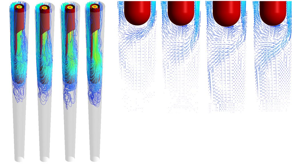 Left: Streamlines of the irrigation fluid; right: Velocity vectors at the recirculation zone next to the needle tip. CREDIT: Hanhui Jin