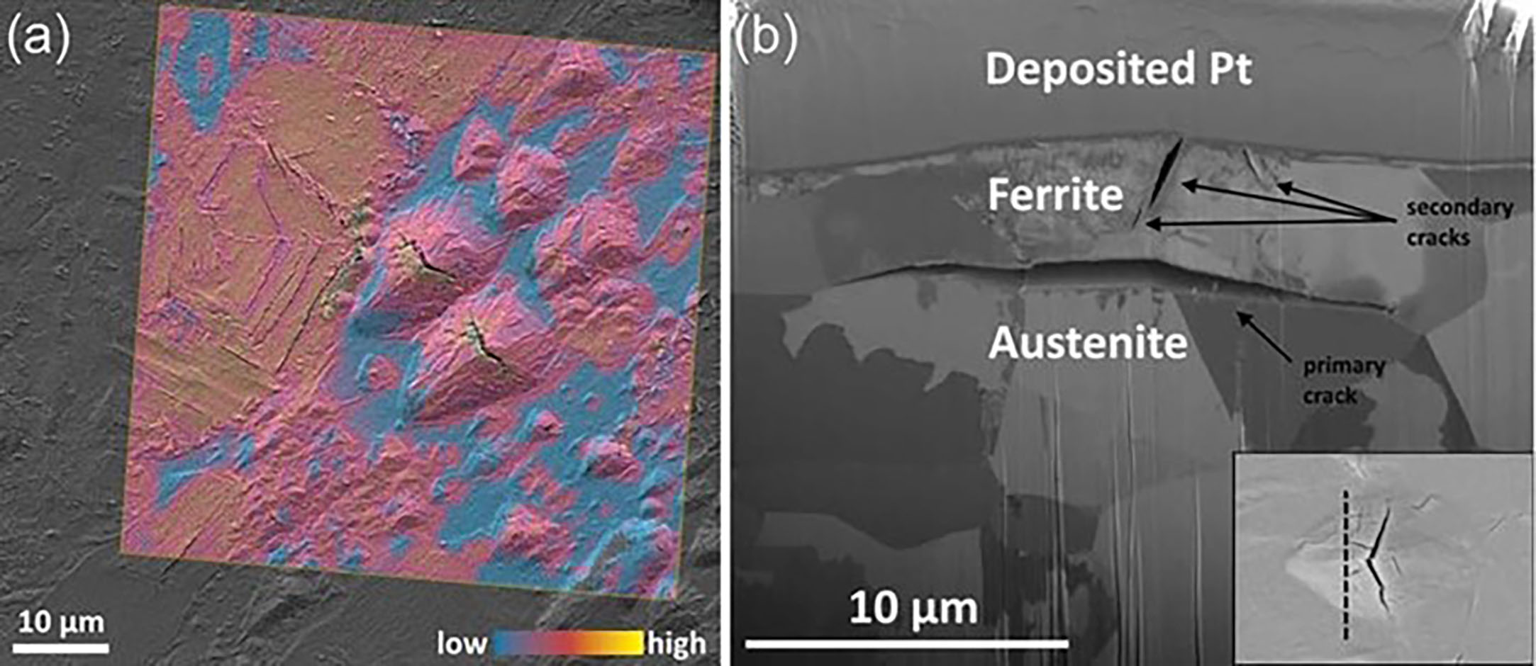 a) The arrowhead-shaped delaminations in stainless steel reveal cracks with significantly higher deuterium concentrations b) Secondary ion cross-sectional profile for one such delamination. CREDIT: O. Sobol, G. Holzlechner, G. Nolze, T. Wirth, D. Eliezer, T. Boellinghaus, and W.E.S. Unger