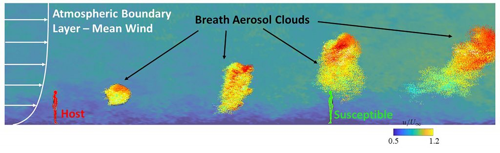 """Large-eddy simulation results of the aerosol """"clouds"""" generated by the breathing of an infected host in a turbulent boundary layer. CREDIT: Rajat Mittal, Charles Meneveau and Wen Wu"""