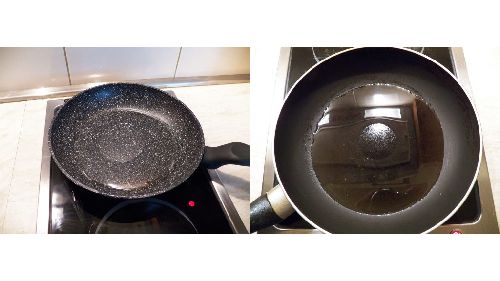 Left: Dry spot on nonstick GRANITEC pan; right: dry spot on TEFLON-coated pan CREDIT: Alex Fedorchenko