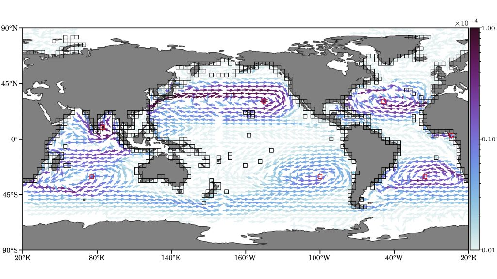 Inferred reactive probability currents of marine debris into garbage patches (red boxes). Black boxes indicate coastal boxes from which those currents emerge. The color of the arrows represents the probability of the transition route. CREDIT: Philippe Miron, Francisco Beron-Vera, Luzie Helfmann, and Peter Koltai