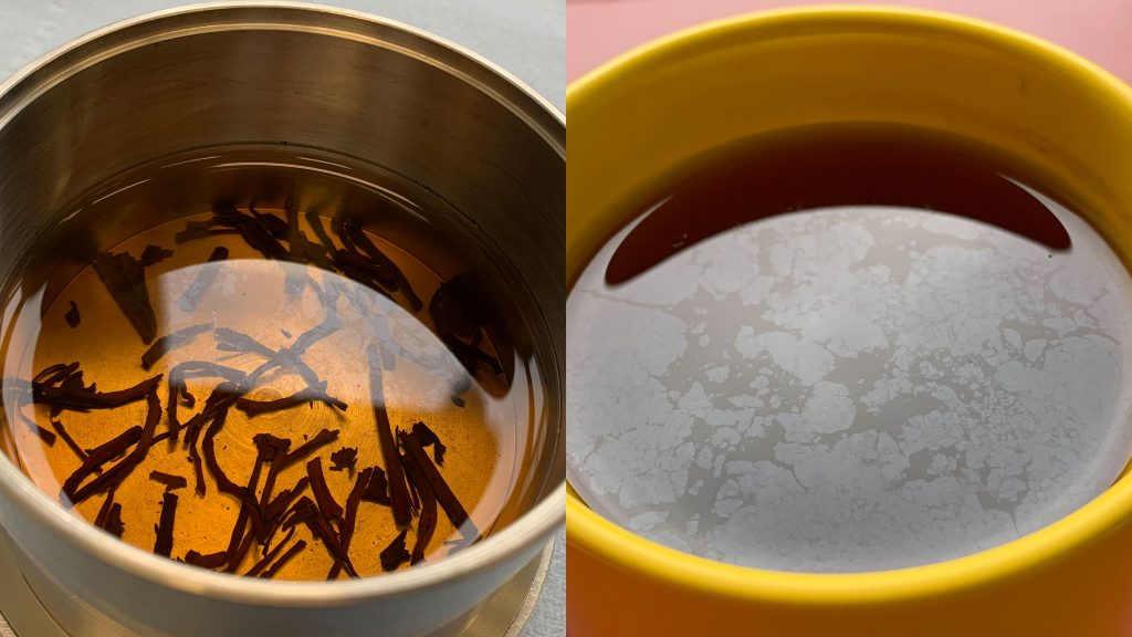 A thin film at the air-water interface is observable in a cup of tea. CREDIT: ETH Zürich, Department of Health Science and Technology, Institute of Food Nutrition and Health, Zürich, Switzerland