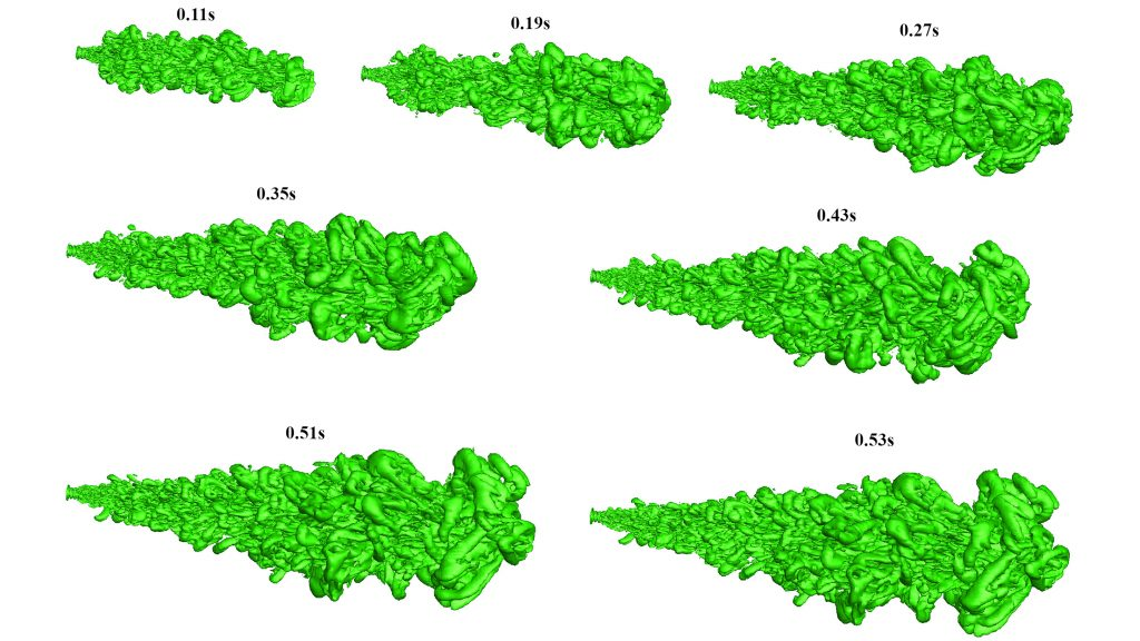 Large eddy simulation model representing the evolution of a cough jet. CREDIT: Indian Institute of Technology Bombay